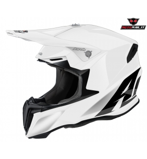 CASCO CROSS AIROH TWIST WHITE GLOSS TERMOPLASTICA BIANCO