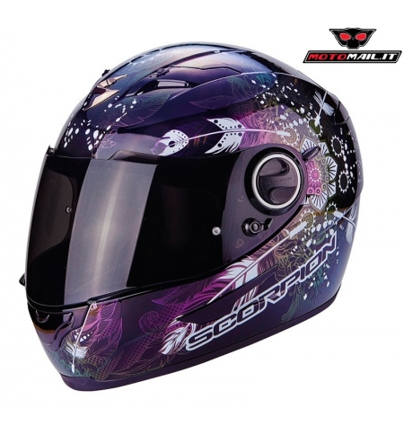 CASCO SCORPION EXO 490 DREAM CAMALEONTE PARASOLE ANTIAPPANNAMENTO DONNA LADY FUCSIA BIANCO