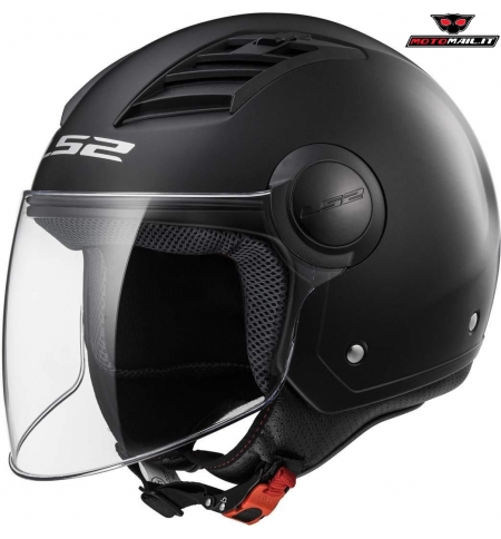 CASCO JET LS2 AIRFLOW OF562 MATT BLACK NERO OPACO POLICARBONATO