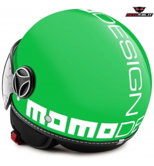 CASCO JET MOMO DESIGN FIGHTER CLASSIC GREEN VERDE BIANCO WHITE