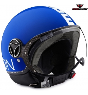 CASCO JET MOMO DESIGN FIGHTER CLASSIC COBALT BLUE BLU BIANCO