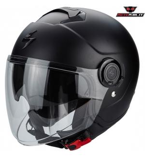CASCO SCORPION EXO CITY EVO JET MATT BLACK NERO OPACO XS S M L XL XXL PARASOLE SCOOTER MOTO