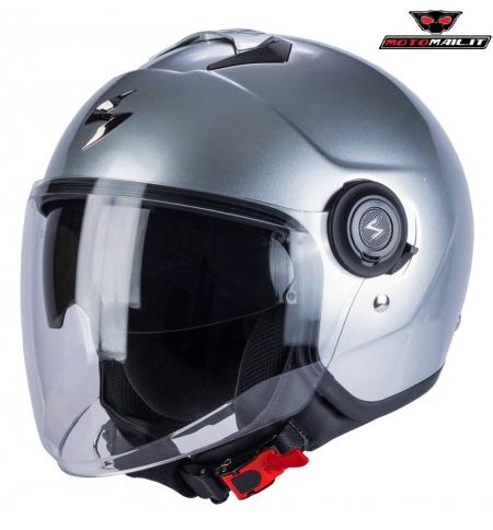 CASCO SCORPION EXO CITY JET SILVER GRIGIO ARGENTO METALLIZZATO XS S M L XL XXL PARASOLE SCOOTER MOTO
