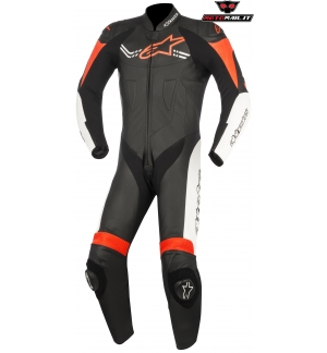 TUTA ALPINESTARS CHALLENGER V2 RACE SUIT PELLE INTERA PISTA NERO ROSSO BIANCO BLACK WHITE RED
