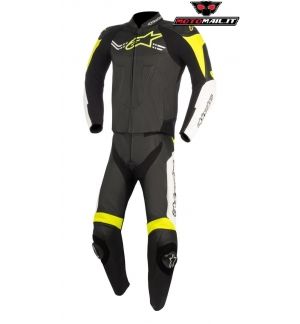 TUTA ALPINESTARS CHALLENGER V2 RACE SUIT PELLE INTERA PISTA NERO GIALLO BIANCO YELLOW FLUO WHITE BLACK