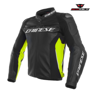 GIACCA DAINESE PELLE RACING 3 LEATHER JACKET NERA GIALLA 48 50 52 54 56