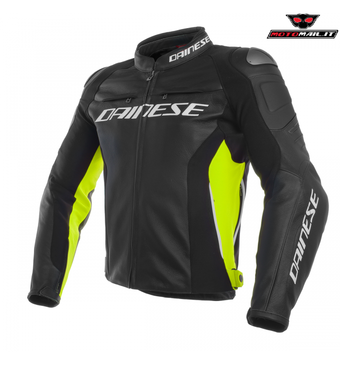 best website 575f8 52d38 GIACCA PELLE DAINESE RACING 3 NERA GIALLA