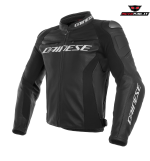 GIACCA PELLE DAINESE RACING 3 NERA LOGO BIANCO