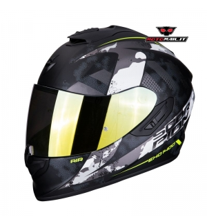 CASCO INTEGRALE SCORPION EXO-1400 AIR SYLEX OPACO GIALLO CAMO BIANCO