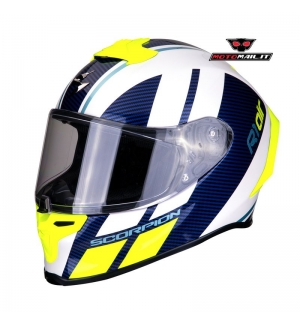 CASCO INTEGRALE SCORPION EXO-R1 AIR CORPES GIALLO BIANCO BLU LUCIDO